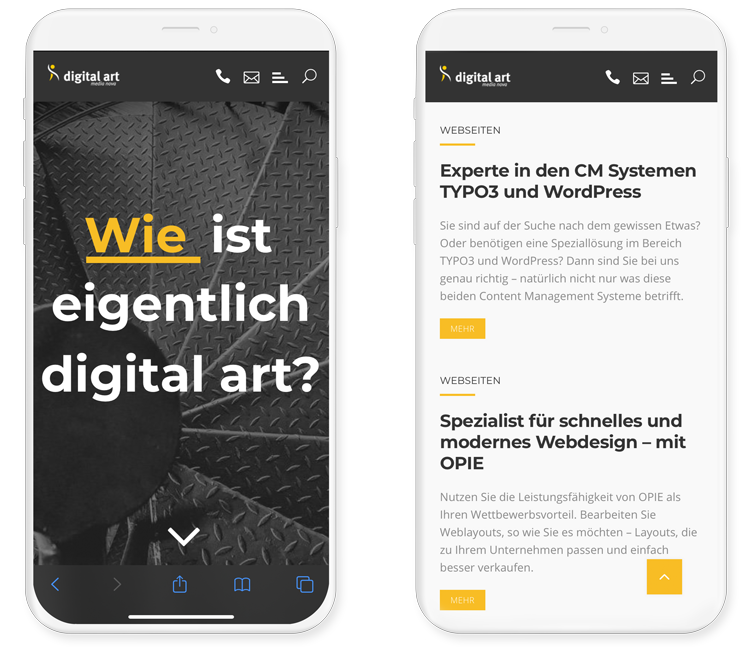 2 iPhones zeigen responsive Webdesign auf der digital art Website