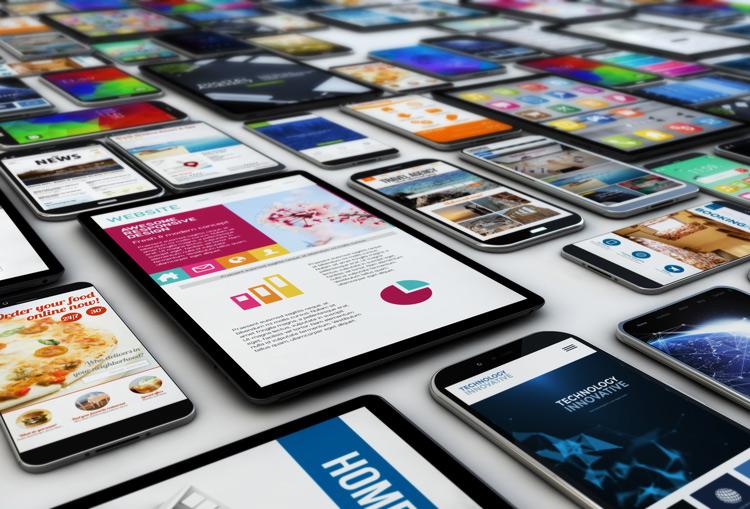 Vielfalt unterschiedlicher mobiler Geräte, die unterschiedliche Webseiten zeigen