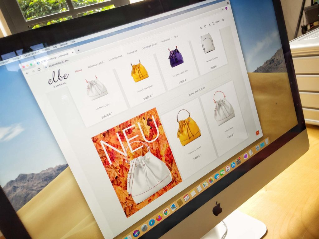 Onlineshop Screenshot on a Mac